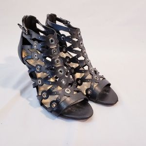 VINCE CAMUTO Womens Heels Gladiator Black Leather